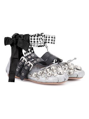 Miu Miu Studded metallic leather ballerinas