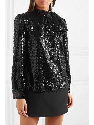 Miu Miu tie-detailed sequined crepe blouse