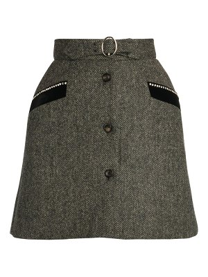 Miu Miu virgin wool shetland herringbone mini skirt