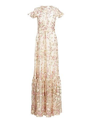 ML Monique Lhuillier Bridesmaids embroidered floral overlay gown