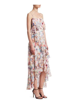 ML Monique Lhuillier Bridesmaids floral chiffon high-low dress