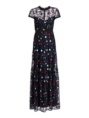 ML Monique Lhuillier Bridesmaids floral-embroidered tulle column gown