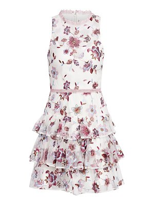 ML Monique Lhuillier Bridesmaids floral-embroidery tiered cocktail dress