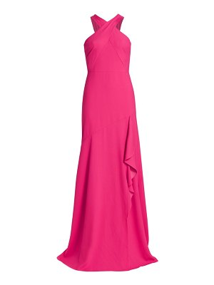 ML Monique Lhuillier Bridesmaids halter crepe gown