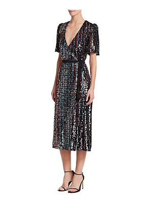 ML Monique Lhuillier Bridesmaids sequin wrap midi dress