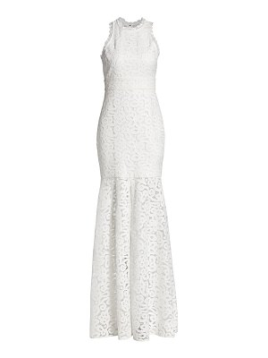 ML Monique Lhuillier Bridesmaids sheer lace slit gown