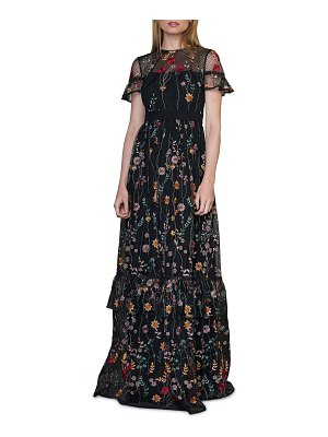 ML Monique Lhuillier Bridesmaids Short-Sleeve Embroidered Gown