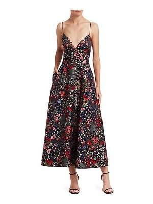 ML Monique Lhuillier Bridesmaids sleeveless floral a-line midi dress