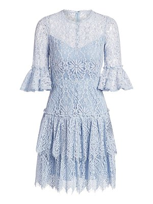 ML Monique Lhuillier Bridesmaids tiered lace bell-sleeve dress
