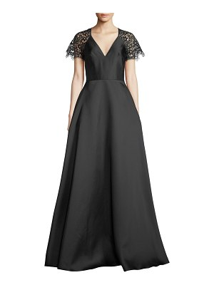 ML Monique Lhuillier Bridesmaids V-Neck Ball Gown w/ Lace Sleeves