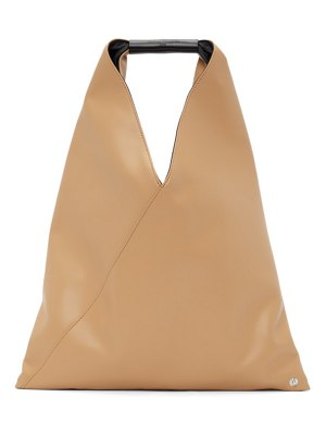 MM6 Maison Margiela beige faux-leather small triangle tote