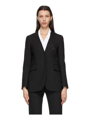 MM6 Maison Margiela black collarless logo blazer
