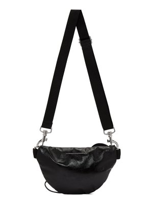 MM6 Maison Margiela black faux-patent two-compartment bum bag