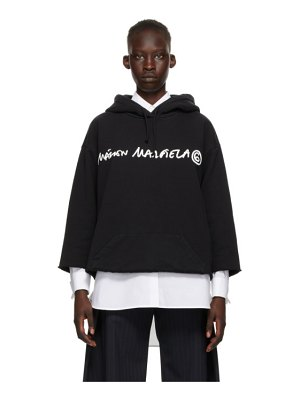 MM6 Maison Margiela black logo cropped hoodie