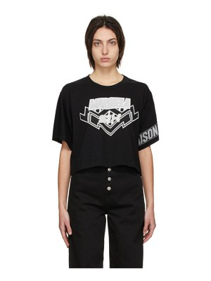 MM6 Maison Margiela black motocross logo cropped t-shirt