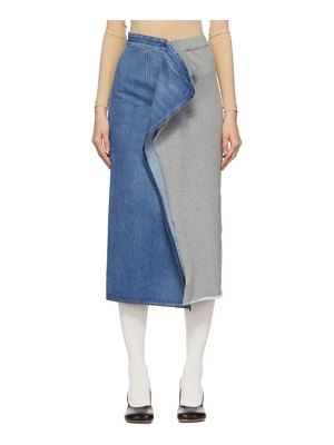 MM6 Maison Margiela blue and grey denim sweat split skirt