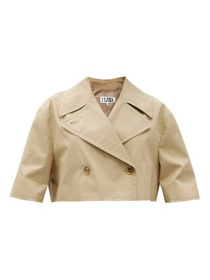 MM6 Maison Margiela cropped double-breasted cotton-gabardine jacket