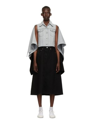 MM6 Maison Margiela grey and black denim spliced jacket dress