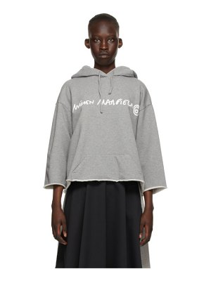 MM6 Maison Margiela grey logo cropped hoodie