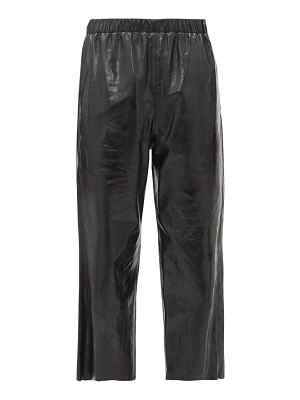 MM6 Maison Margiela leather cropped wide leg trousers