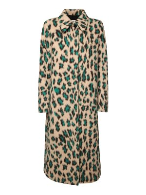 MM6 Maison Margiela Leo print brushed wool blend coat