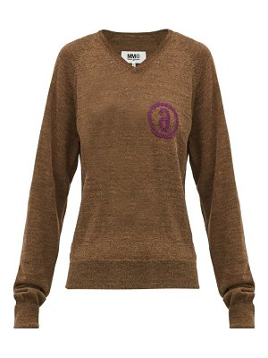MM6 Maison Margiela logo jacquard wool blend sweater