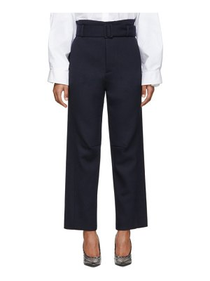 MM6 Maison Margiela navy belted paperbag trousers