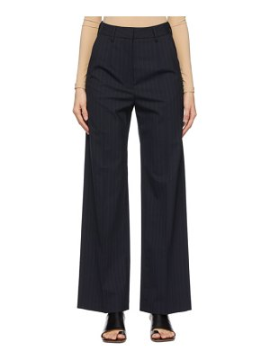 MM6 Maison Margiela navy wool pinstripe trousers