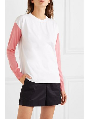MM6 Maison Margiela paneled printed cotton-jersey and wool top