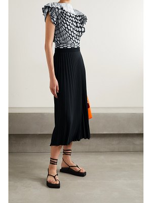 MM6 Maison Margiela pleated polka-dot crepe de chine midi dress