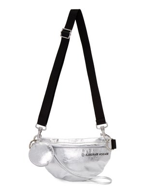 MM6 Maison Margiela silver faux-patent two-compartment bum bag