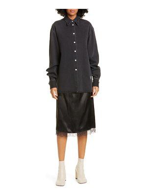 MM6 Maison Margiela slip hem long sleeve denim shirtdress