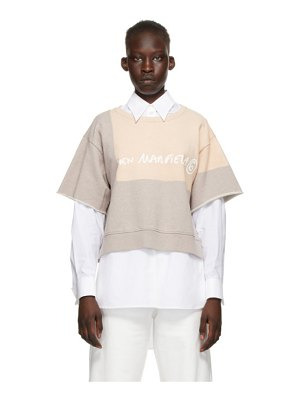 MM6 Maison Margiela taupe and beige logo cropped sweatshirt