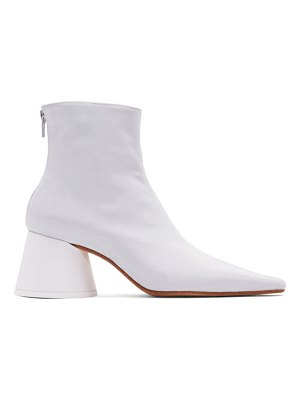 MM6 Maison Margiela white twill ankle boots