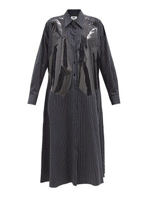 MM6 Maison Margiela vinyl-overlay pinstriped cotton shirtdress