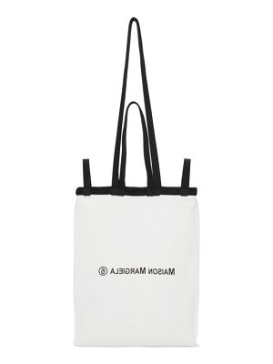 MM6 Maison Margiela white and black double handle tote bag