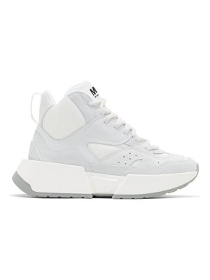 MM6 Maison Margiela white and grey flare runner high-top sneakers