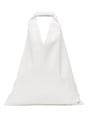 MM6 Maison Margiela white faux-leather small triangle tote