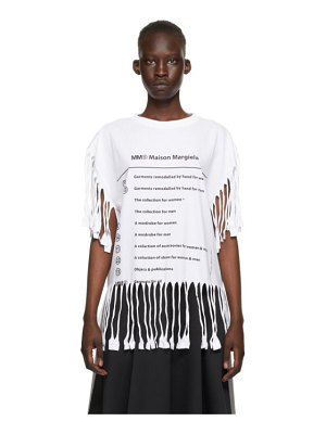 MM6 Maison Margiela white logo fringe t-shirt