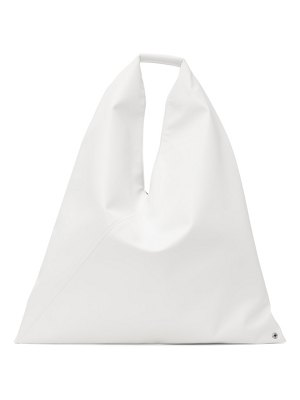 MM6 Maison Margiela white small triangle tote