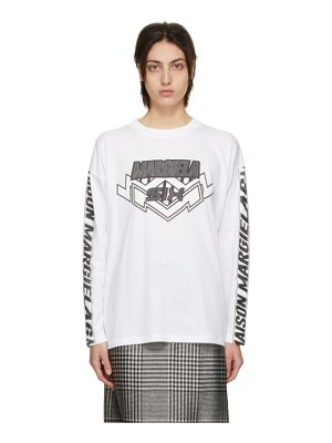 MM6 Maison Margiela white motocross logo long sleeve t-shirt