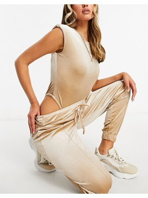 Moda Minx velour bodysuit with shoulder pad detail and sweatpants in champagne-neutral