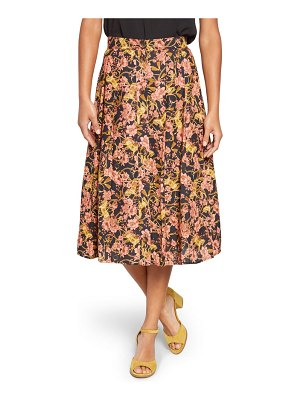 ModCloth floral pleated button-through skirt