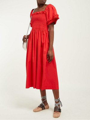 MOLLY GODDARD adelaide shirred cotton midi dress