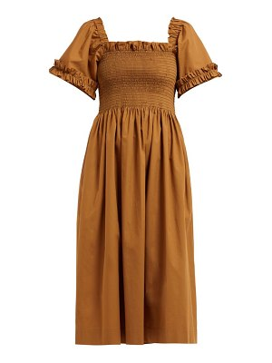 MOLLY GODDARD adelaide smocked cotton poplin midi dress