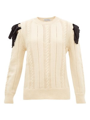 MOLLY GODDARD blanche bow-shoulder cable-knitted wool sweater