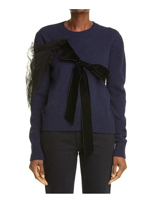 MOLLY GODDARD eliza wool sweater with velvet & tulle trim
