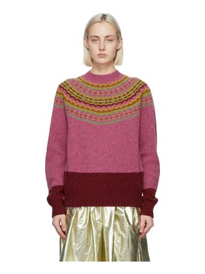 MOLLY GODDARD pink and red benny sweater