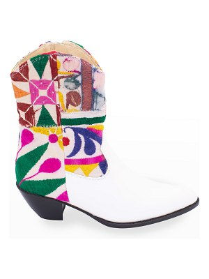 MOMO NEW YORK Embroidered Patchwork Short Western Booties