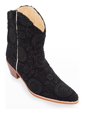 MOMO NEW YORK Embroidered Silk Short Western Booties
